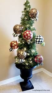 White Christmas Tree With Black Decorations Hand Painted Christmas Ornaments Black And White Checks Stripes