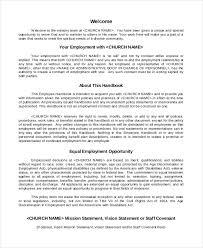 employee manual template employment handbook template for word