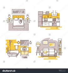 Floor Plan Furniture Clipart Apartment Inside Detailed Modern House Interior Stock Vector