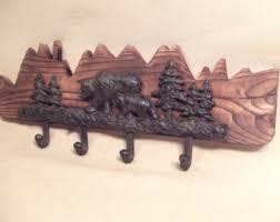 rustic cast iron deer antler coat rack lodge cabin decor