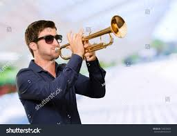 royalty free holding trumpet outdoor 128012834 stock