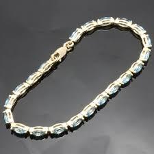 blue topaz bracelet gold images Solid 10k yellow gold 5 25ctw genuine blue topaz bracelet jpg
