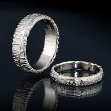 wedding band set texture wedding bands set of 2 bird nest rings