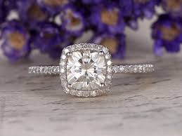7 5mm cushion cut moissanite ring engagement ring pave set promise