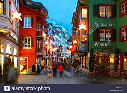 switzerland zurich old city center augustinergasse christmas stock