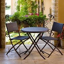 bellezza folding table u0026 chair bistro set rattan wicker outdoor furn