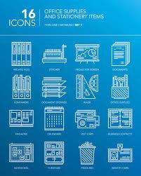 fournitures bureau en ligne ligne mince blanche détaillée icônes fournitures de bureau et