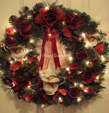 lighted christmas wreath royal albert country roses lighted christmas wreath