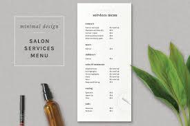 Indesign Price List Template Modern Salon Price List Template Flyer Templates On Creative Market