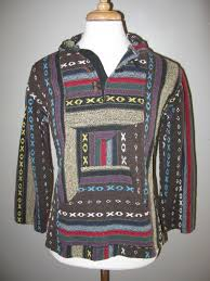 authentic mexican rug hoodie brown poncho surfer baja pullover