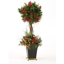 Topiary Balls With Flowers - artificial pine and cedar ball topiary with red berries in a black