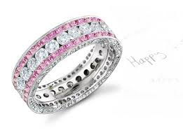 Pink Diamond Wedding Ring by Engraved Vintage Designer Fused Triple Row Diamond Eternity Bands