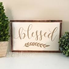 blessed hand painted wood sign home decor sign distressed