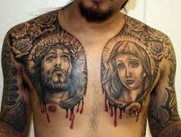 jesus virgin mary tattoo design on chest tattoos book