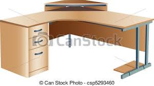 bureau clipart angled corner office desk three dimensional illustration of