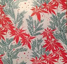 flat christmas wrapping paper vintage wrapping paper poinsettia candles christmas gift wrap