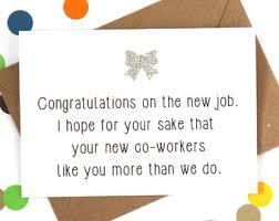 Congrats On New Job Card Funny New Job Card Etsy