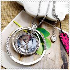 crystal ring necklace images Betsey johnson crystal ring pendants sweater chain long necklace jpg