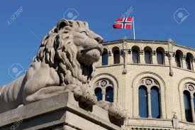 Flag Of Oslo Symbolic Lion And Norwegian Flag At Oslo Parliament Building Stock