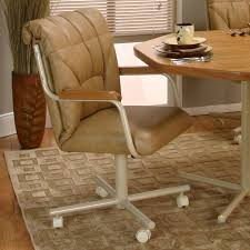 White Leather Dining Chair With Arms Furniture Fabulous Dining Room Chairs With Caster Bring