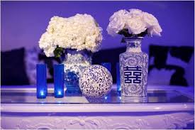 Blue Wedding Flowers Something Blue Wedding Reception Room With All White Flowers