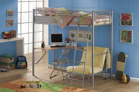 metal loft bed with desk and chairs well suited metal loft bed