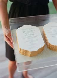 Design Wedding Programs Wedding Programs On An Acrylic Tray At A Soiree Wedding Wedding
