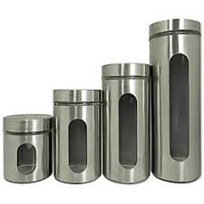 kitchen canisters stainless steel 4 stainless steel and glass canister set with window design