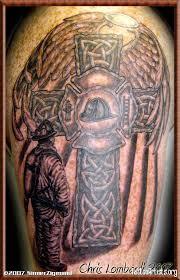 winged celtic cross firefighter on shoulder