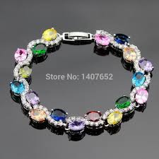 color stone bracelet images Multi color stones cubic zirconia silver color jewelry link chain jpg