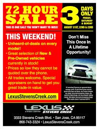 lexus service charges the 72 hour sale starts now journal lexus of stevens creek