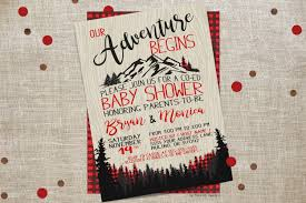 our adventure begins co ed baby shower invitation plaid the