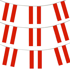 Huge Red Flag 33ft 10 Meters Austrian Flag Bunting Austria Party Euro Decoration