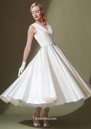 a line sleeveless v neck ivory elegant tea length satin wedding