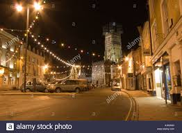 cirencester high street with christmas lights and decorations