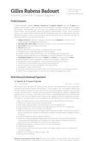 Resume Profile Summary Samples by It Support Engineer Resume Samples Visualcv Resume Samples Database