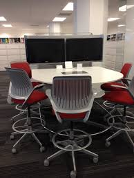 target high top table double monitors for even more collaboration at high top table at