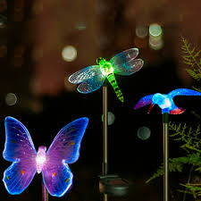 goeswell led solar garden light dragonfly butterfly bird type