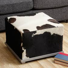 Room And Board Ottoman by Fireplace Fascinating Round Cowhide Ottoman With Wood Table And