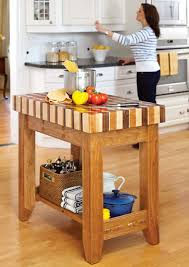 decorating using butcher block island for modern kitchen