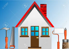 decorating house with stucco roller and building tools royalty