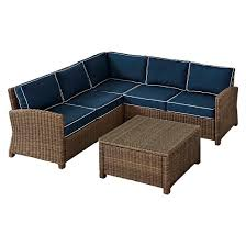 bradenton 4 pc outdoor wicker sectional seating set with navy