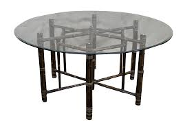 mcguire hexagon bamboo base glass top dining table chairish