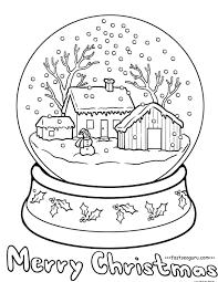 printable christmas snow globe coloring pages free printable