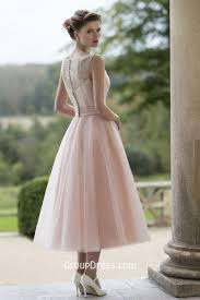 embroidered sleeveless blush pretty flower tea length tulle fall
