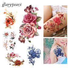 flower bird decal fake women men diy henna body art tattoo design