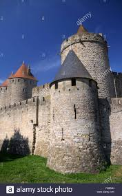 Carcassonne The Entrance Of Medieval Castle Carcassonne Near Toulouse In