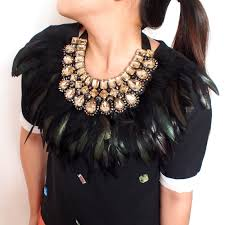 fashion statement collar necklace images Manilai indian maxi jewelry exaggerate black feather statement jpg