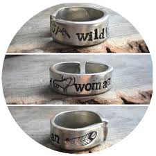 Stamped Jewelry Wild Woman Wolf Stamped Ring Stamped Jewelry Mountains And