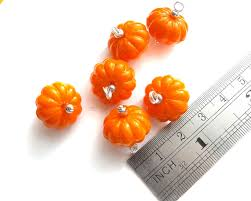 halloween charm bracelets pumpkin bead charms set of 6 or 20 pre wired acrylic pumpkin